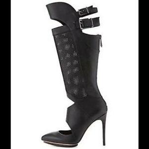 BCBGMAXAZRIA Adored Leather Stiletto Boot Black 10